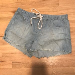 Aerie Pinstripe Soft Denim Shorts